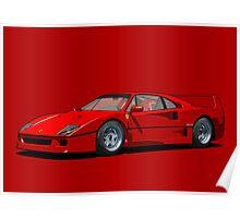Ferrari F40 1987 Rosso Corsa Poster