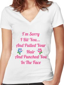 I'm Sorry I Bit You... Women's Fitted V-Neck T-Shirt
