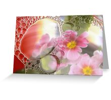 Primrose, oil and water abstract Greeting Card
