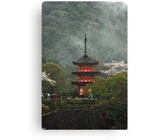 Pagoda In The Mist Canvas Print