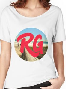 RG LOGO With Red Lettering and Beach Background  Women's Relaxed Fit T-Shirt