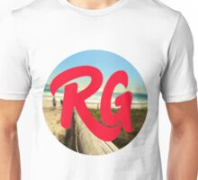 RG LOGO With Red Lettering and Beach Background  Unisex T-Shirt