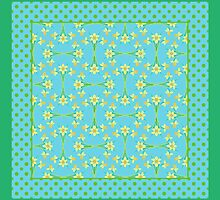 Daffodils and Polka Dots Pattern on Aqua by helikettle