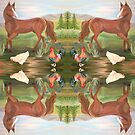 Horse and Hens Scarf by L.W. Turek