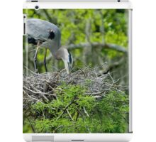 Great Blue Heron Turning Her Eggs in the Nest iPad Case/Skin