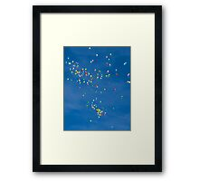 Blue sky with coloured balloons Framed Print