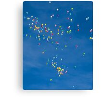 Blue sky with coloured balloons Canvas Print