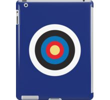 Bulls Eye, Right on Target, Roundel, Archery, on Dark Blue iPad Case/Skin