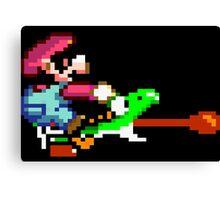 Mario punches Yoshi Canvas Print