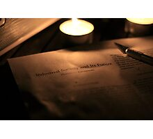Evening light reading - Ted Kaczynski and Society Photographic Print