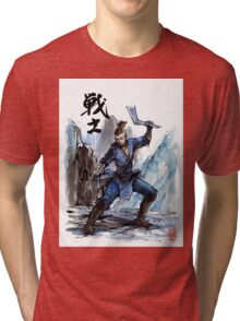 Sokka from Avatar Sumi and watercolor with Calligraphy Tri-blend T-Shirt