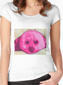 Hot pinks Painted Seal Women's Fitted Scoop T-Shirt