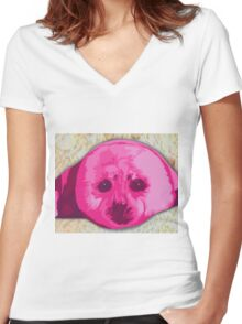 Hot pinks Painted Seal Women's Fitted V-Neck T-Shirt