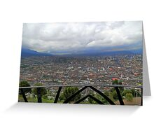View of Quito From The Virgen - Painting Greeting Card