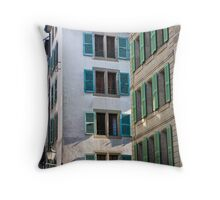 Green and blue shutters Throw Pillow