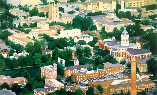 """Higher Education"" Mizzou Watercolor by Paul Jackson"