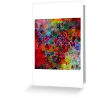 THROUGH ROSE-COLORED GLASSES Bold Rainbow Floral Multicolor Flower Garden Abstract Modern Painting Design Greeting Card