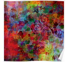 THROUGH ROSE-COLORED GLASSES Bold Rainbow Floral Multicolor Flower Garden Abstract Modern Painting Design Poster