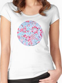 Sweet Spring Floral - cherry red & bright aqua Women's Fitted Scoop T-Shirt