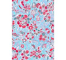 Sweet Spring Floral - cherry red & bright aqua Photographic Print