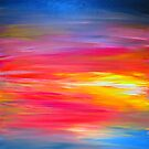 BRIGHT HORIZONS Colorful Rainbow Bold Multicolor Ombre Red Pink Yellow Blue Sunrise Sunset Abstract Painting by EbiEmporium