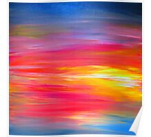 BRIGHT HORIZONS Colorful Rainbow Bold Multicolor Ombre Red Pink Yellow Blue Sunrise Sunset Abstract Painting Poster