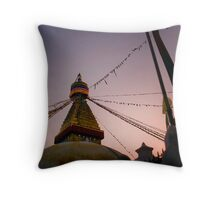 Dusk's Stupa Lightshow Throw Pillow