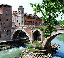 Bridge Across the Tiber - Rome by Tom Clark