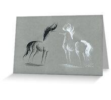 Blinding Darkness: Dark and Light Minimal Abstract Gel Pen Horses Greeting Card