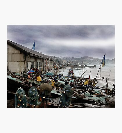 Net Boys at the Boats Photographic Print