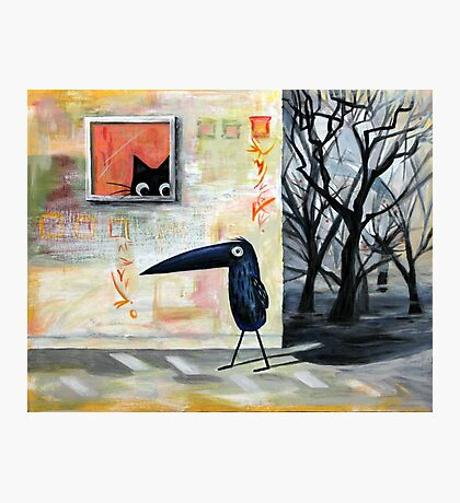 Cat and Bird Photographic Print