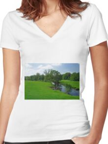 Riverside Meadows, Ashford-in-the-Water  Women's Fitted V-Neck T-Shirt