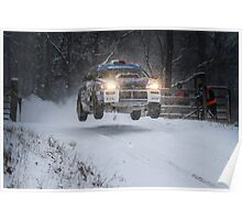 Subaru Rally Car Flying Through The Snow Poster