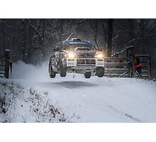Subaru Rally Car Flying Through The Snow Photographic Print