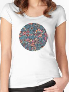 Sweet Spring Floral - melon pink, butterscotch & teal Women's Fitted Scoop T-Shirt