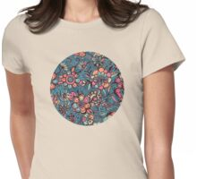 Sweet Spring Floral - melon pink, butterscotch & teal Womens Fitted T-Shirt