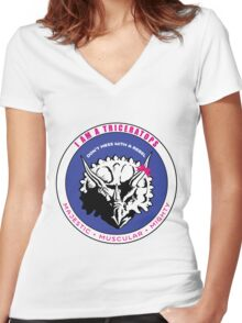 I AM A TRICERATOPS Women's Fitted V-Neck T-Shirt