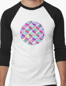 Patchwork Ribbon Ogee Pattern with Pink & Purple Men's Baseball ¾ T-Shirt