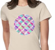 Patchwork Ribbon Ogee Pattern with Pink & Purple Womens Fitted T-Shirt