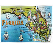 Cartoon Map of Florida Poster