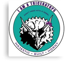 I AM A TRICERATOPS - Teal/Purple MBH Canvas Print