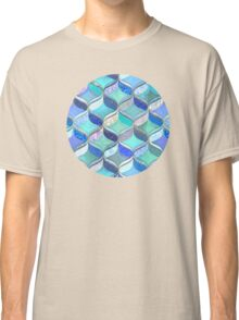 Patchwork Ribbon Ogee Pattern in Blues & Greens Classic T-Shirt