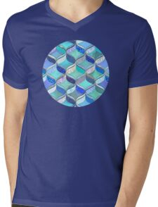Patchwork Ribbon Ogee Pattern in Blues & Greens Mens V-Neck T-Shirt