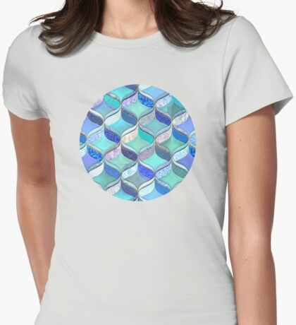 Patchwork Ribbon Ogee Pattern in Blues & Greens Womens Fitted T-Shirt