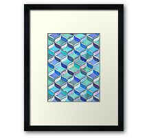 Patchwork Ribbon Ogee Pattern in Blues & Greens Framed Print