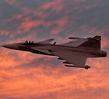 Swedish Air Force SAAB Gripen at Sunset by © Steve H Clark Photography