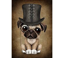 Cute Pug Puppy Dog with Monocle and Top Hat  Photographic Print