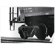 Trains - Freight Car in B&W on White Background Poster
