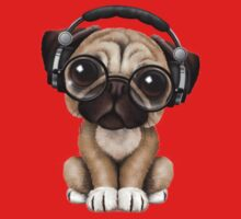 Cute Pug Puppy Dj Wearing Headphones and Glasses One Piece - Long Sleeve