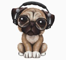 Cute Pug Puppy Dj Wearing Headphones and Glasses Kids Clothes